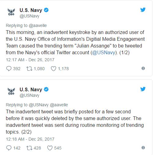 """与美海军有关? 维基解密创始人推特账户曾""""神秘消失"""""""