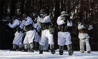 韩国陆战队和美军雪原中举行联合演练