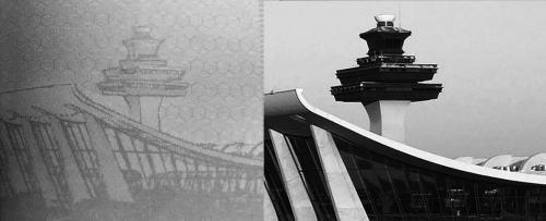 """图片说明:台""""护照""""内页(左)被发现错用美国杜勒斯国际机场照片。"""