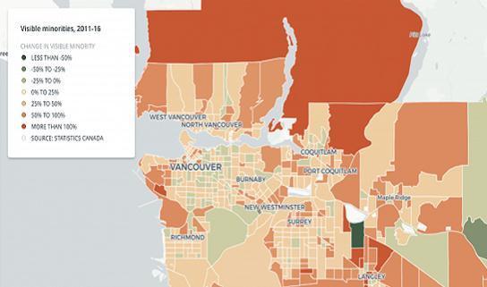 温哥华人口结构变化 新移民渐占领传统白人区