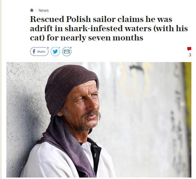 """英媒:印度洋漂流7个月  波兰水手全靠""""中国面条""""苦撑"""