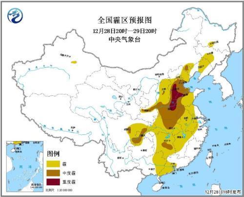 华北黄淮等地大气扩散条件较差 部分地区有重度霾