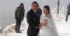 -17℃拍婚纱 新郎一边发抖一边喊爽