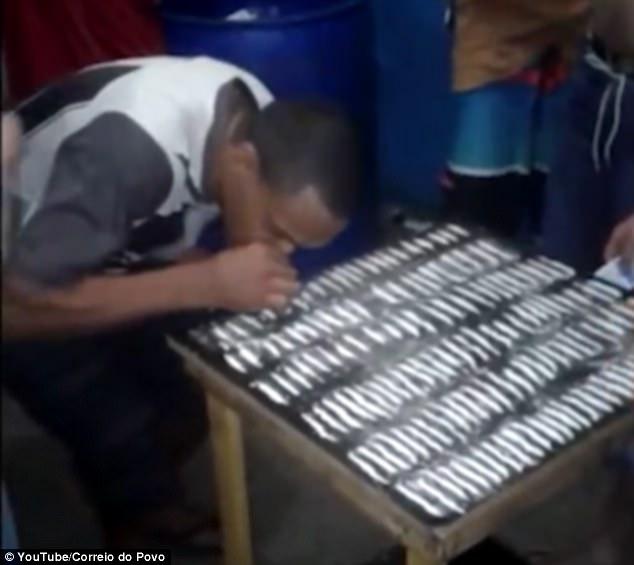 震惊!巴西某监狱内数十名囚犯排队吸食毒品