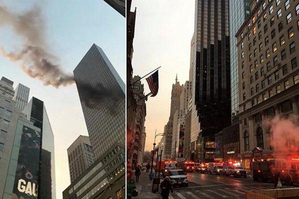 美国纽约市特朗普大楼起火 现场浓烟滚滚