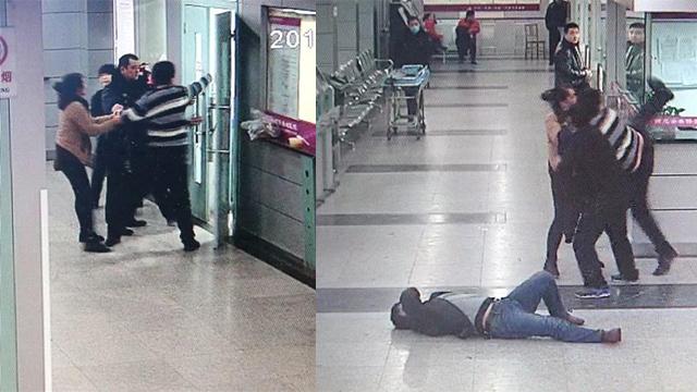 男子大闹医院抢救室 脚踹医生击碎玻璃