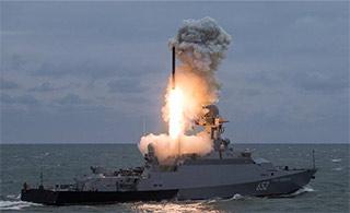 俄罗斯演习轻型军舰试射巡航导弹