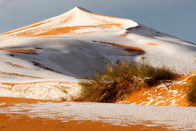 39年来第三次!撒哈拉沙漠降雪 再披银装
