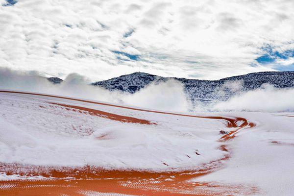 撒哈拉沙漠再次下雪 白雪盖黄沙画面超美