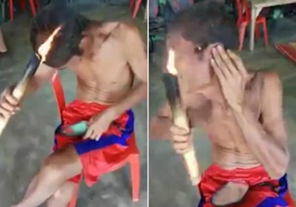 发与火之歌:巴西男子用火把理发惊呆网友