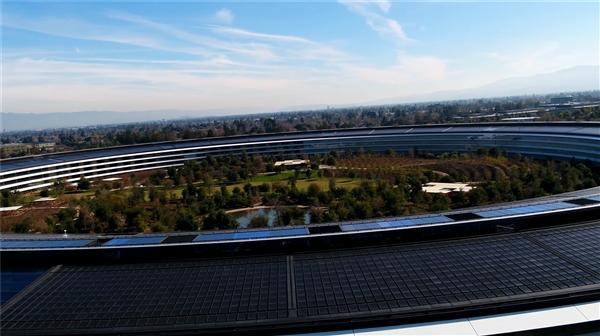 2018年无人机最新拍摄的苹果园区视频流出
