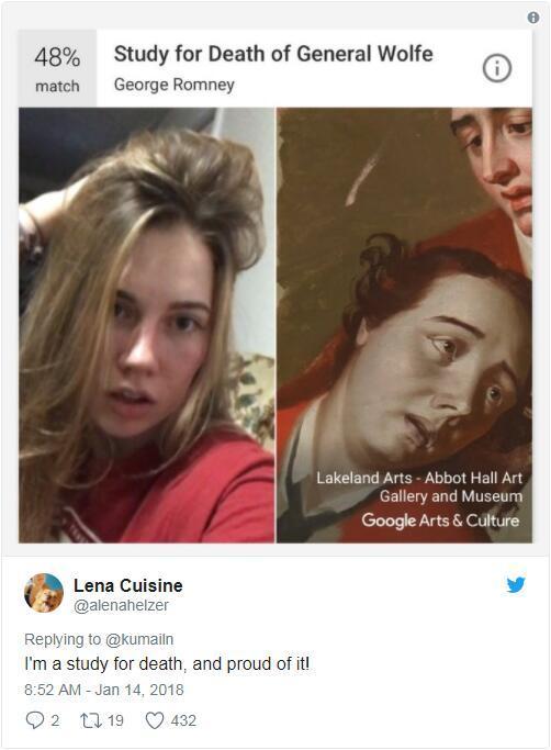 谷歌推名画匹配应用:网友拿自拍照查询相似度