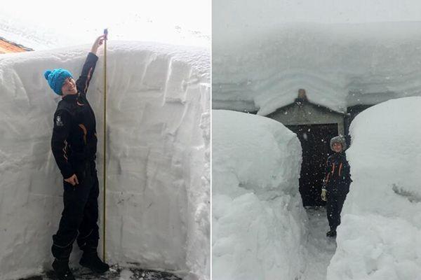 法国阿尔卑斯山遭遇罕见暴风雨 积雪厚度比成年人还高