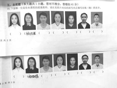 四川高校期末考题:看照片正确书写老师名字