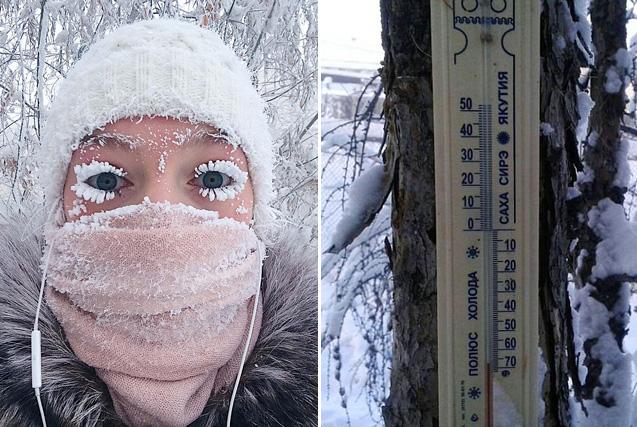 俄西伯利亚一村庄气温低至零下62℃冻裂温度计