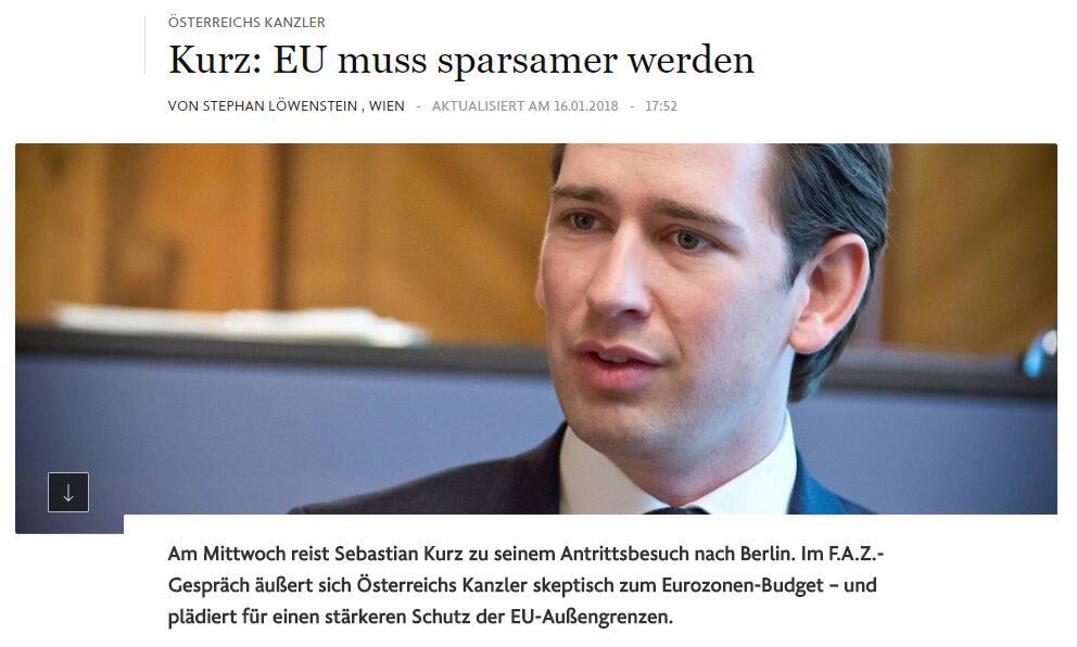 奥地利总理库尔茨17日访德 呼吁欧盟加强外部边界安全