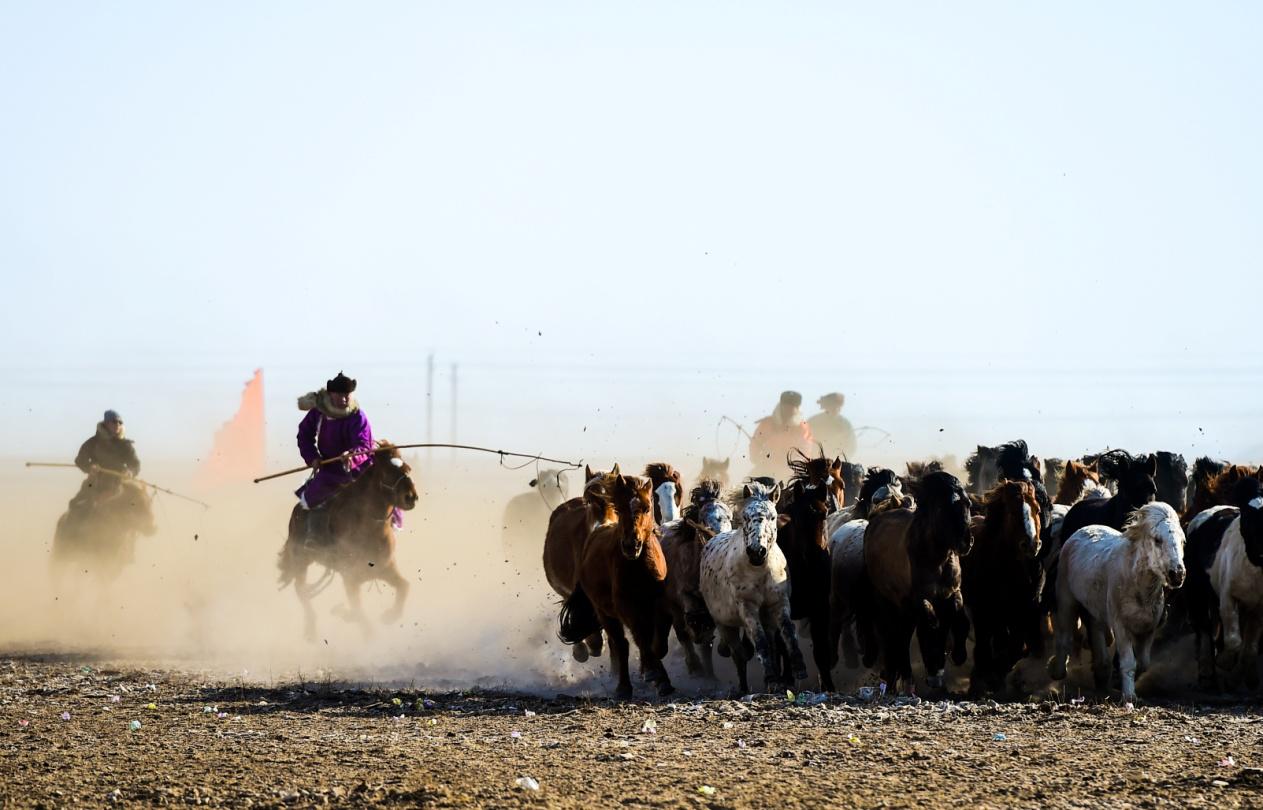 """银色锡林郭勒""""马背上的歌声"""":锡林浩特市冬季那达慕"""