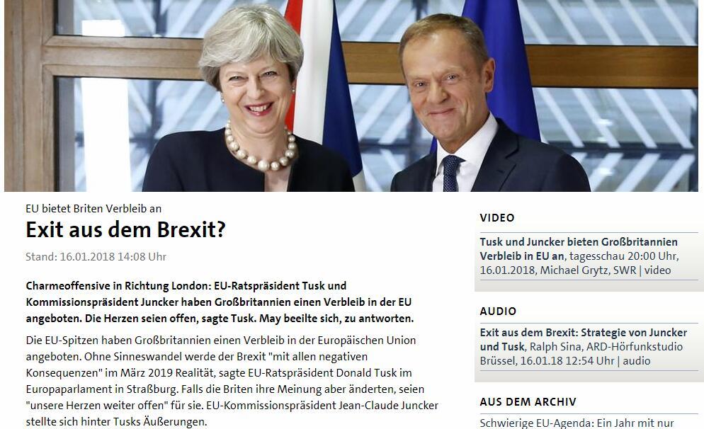 橄榄枝?欧盟理事会主席图斯克:我的心依旧为英国敞开