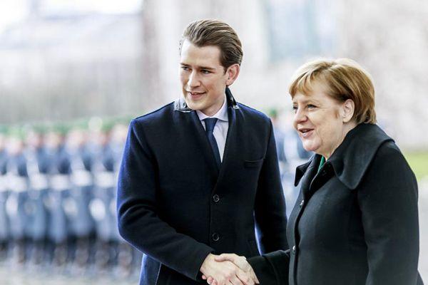 默克尔欢迎奥地利高颜值鲜肉总理到访
