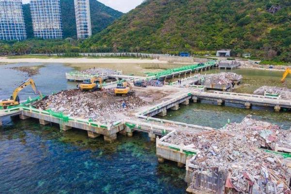 """三亚未批先建的""""海上餐厅""""主体建筑已拆除完毕"""