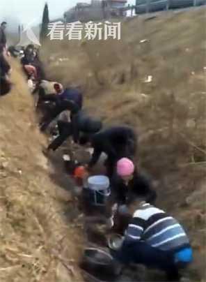 高速路油料泄露 村民开三轮车拎桶盆争相打捞