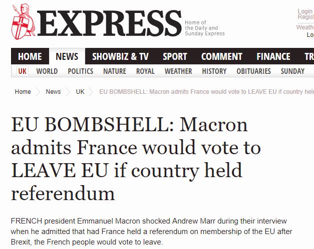 马克龙抛惊人言论:如果法国举行公投,也会脱欧!
