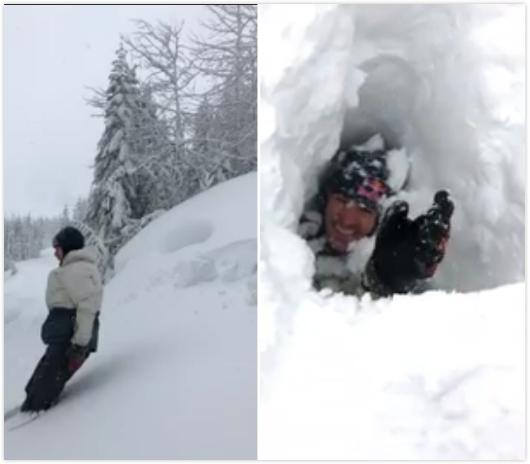 惊!加男子亲身测量积雪厚度竟完全陷入雪中