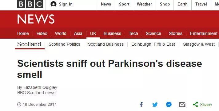 """""""帕金森""""是什么味儿?英国人已经帮你闻出来了"""