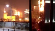 实拍廊坊联通大厦起火 现场火光冲天