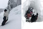 加男子亲身测量积雪厚度完全陷入雪中