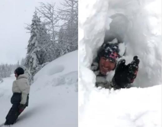 """男子跳进雪地""""亲测""""积雪厚度 结果万没想到"""