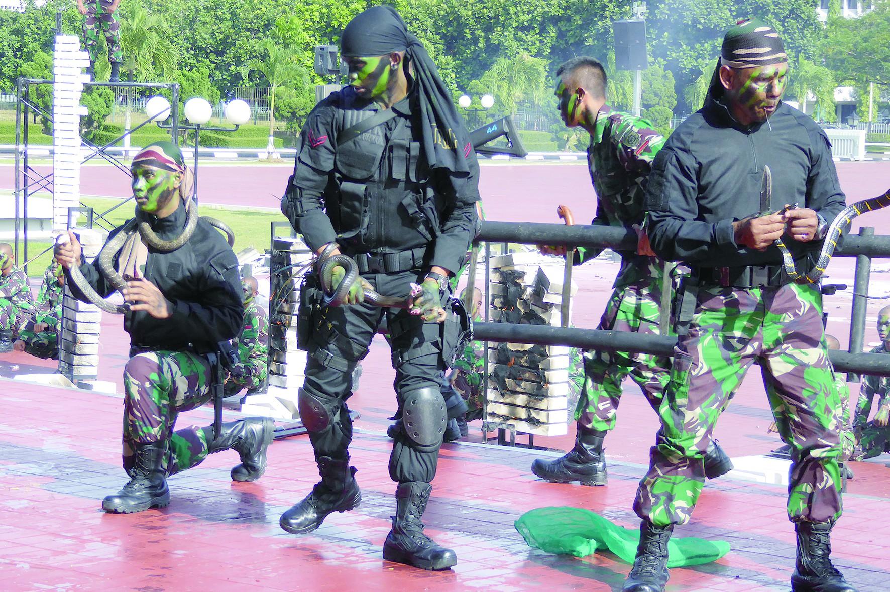 牙撕活蛇、生咽蛇血 印尼军人为美防长表演绝技