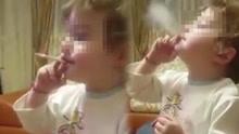 俄2岁幼童熟练吸烟 网友愤怒斥其父母失职