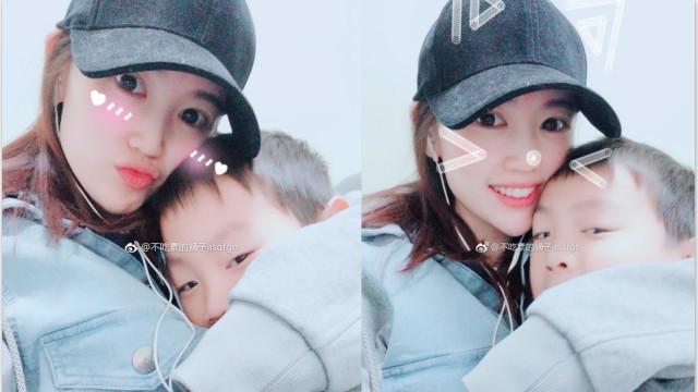 马蓉怀抱儿子露甜笑心情明媚