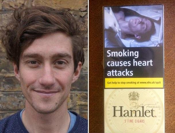 """震惊!英男子发现烟盒包装上""""死尸""""是自己"""