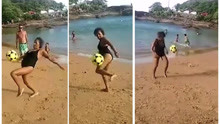 厉害了!巴西67岁老太沙滩颠球一分钟走红