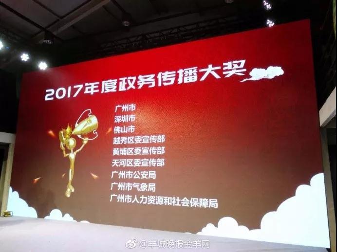 """羊城晚报Y指数年度榜单发布 """"广州公安""""荣获两个奖项"""