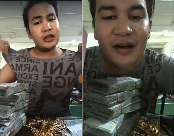 现金首饰金链子...马来西亚网红直播炫富被抢劫和枪击(图)