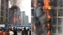 突发!郑州一高层建筑着火 黑烟飘起十几层楼高GB