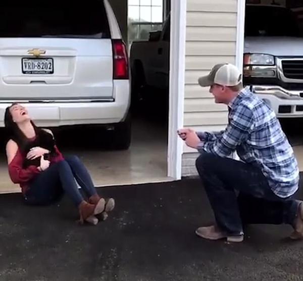 美国男子求婚出奇招 用宠物狗向女友传达爱意
