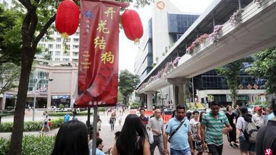 """新媒:新加坡广场改成语 """"开花结狗""""引争议"""