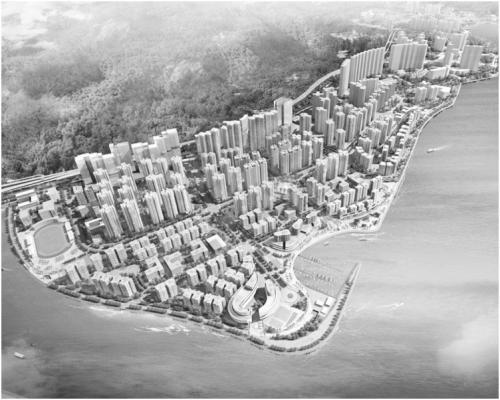 东涌新市镇填海扩展后的示意图。