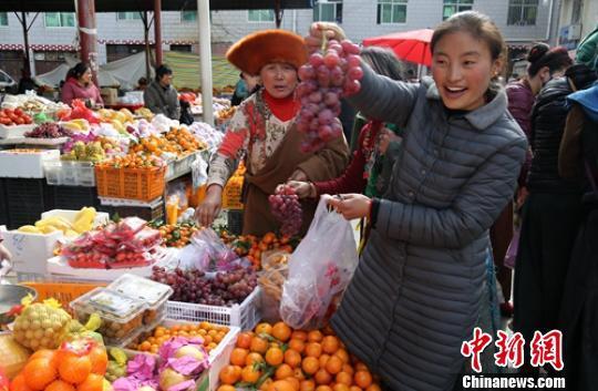 四川甘孜各地藏族同胞忙购年货迎春节和藏历新年