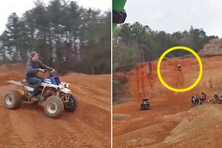 艺高人胆大!男子驾驶四轮摩托车攀上峭壁