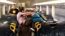 两男子列车大打出手 激战正酣突然握手言和