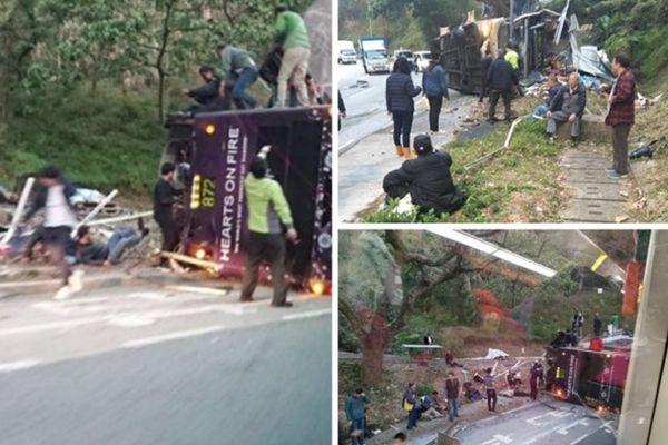 香港大巴翻车致至少19死60伤 司机被称首次驾驶该路线