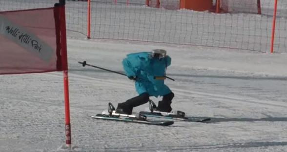 """机器人在平昌:无头滑雪者18秒通过五个""""大门"""""""