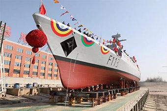 中国为孟加拉建造护卫舰下水