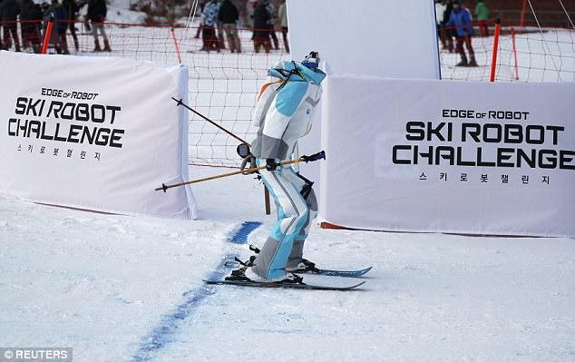 姿势销魂!平昌冬奥会现机器人滑雪挑战赛