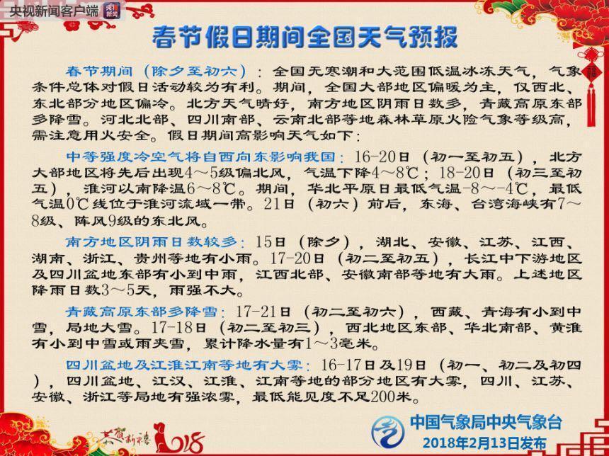 中国气象局:春节假日期间气象条件总体利于出行